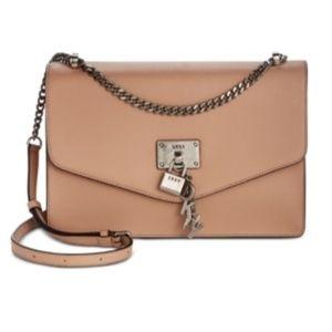 NWT! Dkny Elissa Leather Shoulder Bag Latte